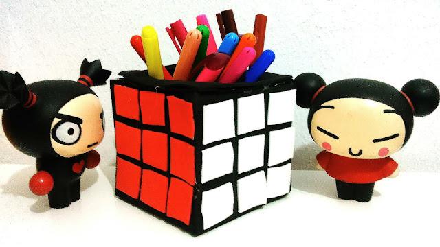 Senhorita Meow Diy: Cubo mágico porta lápis.