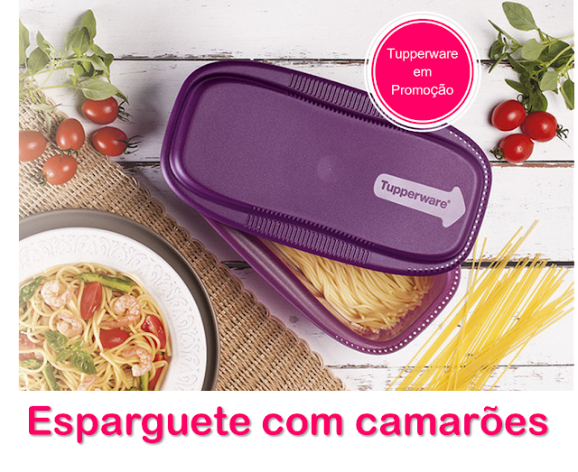 Receita de Esparguete com camarões no MicroMassas da tupperware
