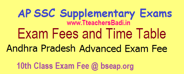 AP 10th Class Supplementary Time Table 2017 Andhra Pradesh SSC Supply Exam Fees 2017