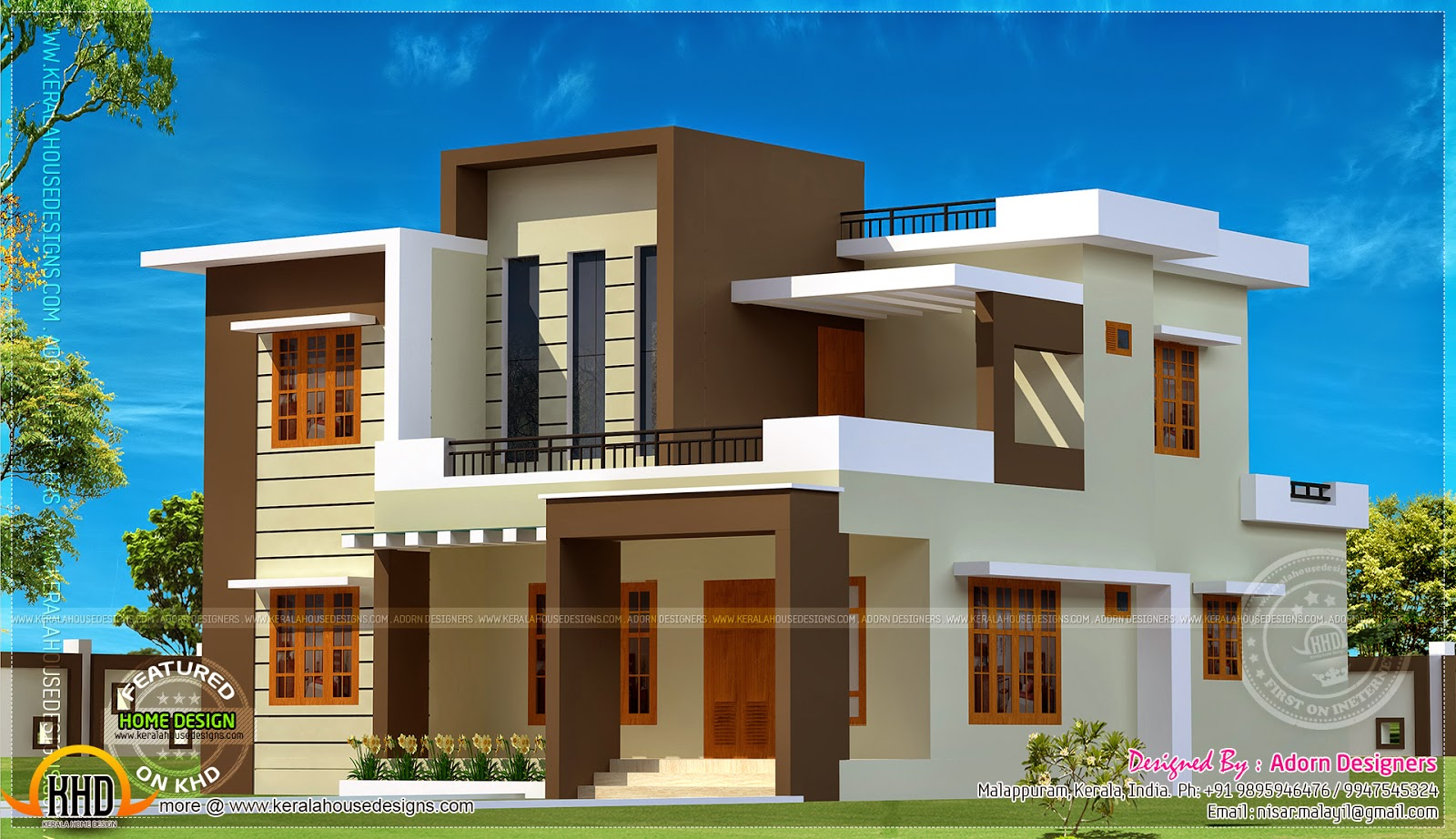 204 square meter flat roof house kerala home design and for Flat roof home plans