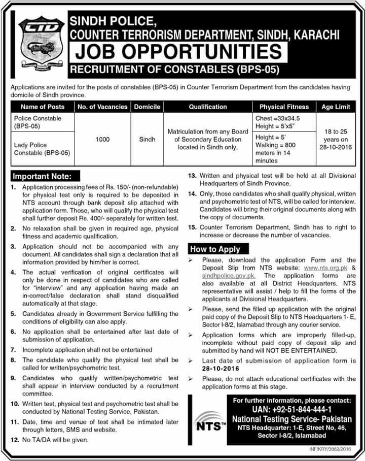 police constable and lady police constable jobs in ctd police