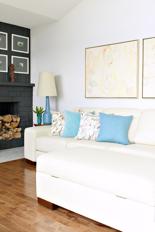 Blue Lotte Lamp in MCM Inspired Living Room