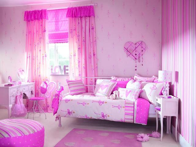Розовые интерьеры детских комнат 364