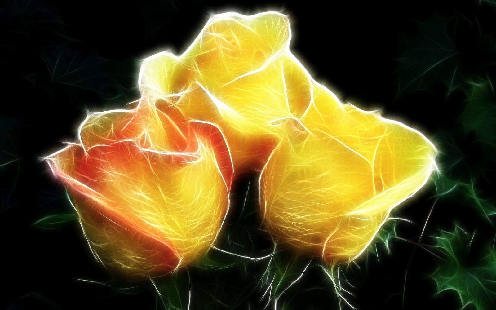 Black and White Wallpapers: Artistic Yellow Roses Wallpaper