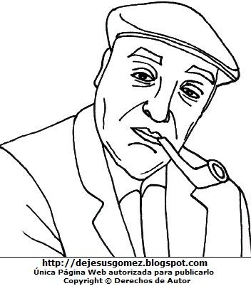 Dibujo de Pablo Neruda para colorear pintar imprimir. Pablo Neruda hecho por Jesus Gómez
