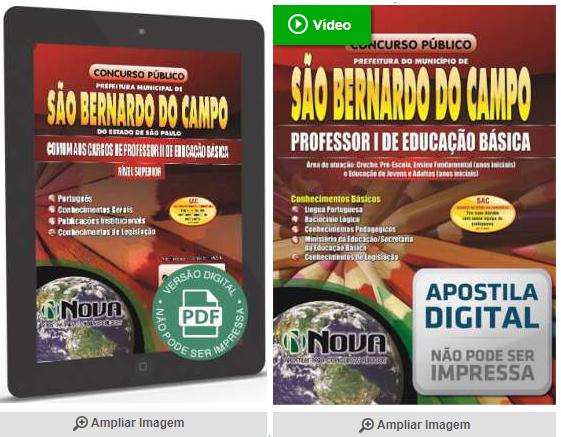 apostila concurso Prefeitura de São Bernardo do Campo - Professor 1