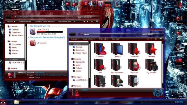 PC SkinPack Spider Man untuk Windows 7