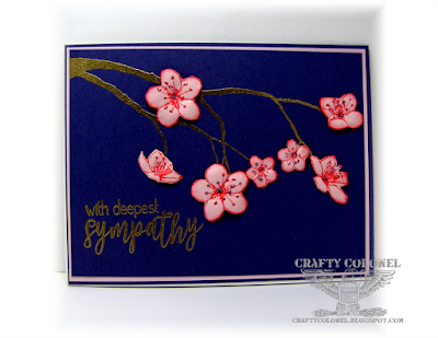 CrraftyColonel Donna Nuce for Club Scrap bloghop.  Cherry Blossom sympathy card.