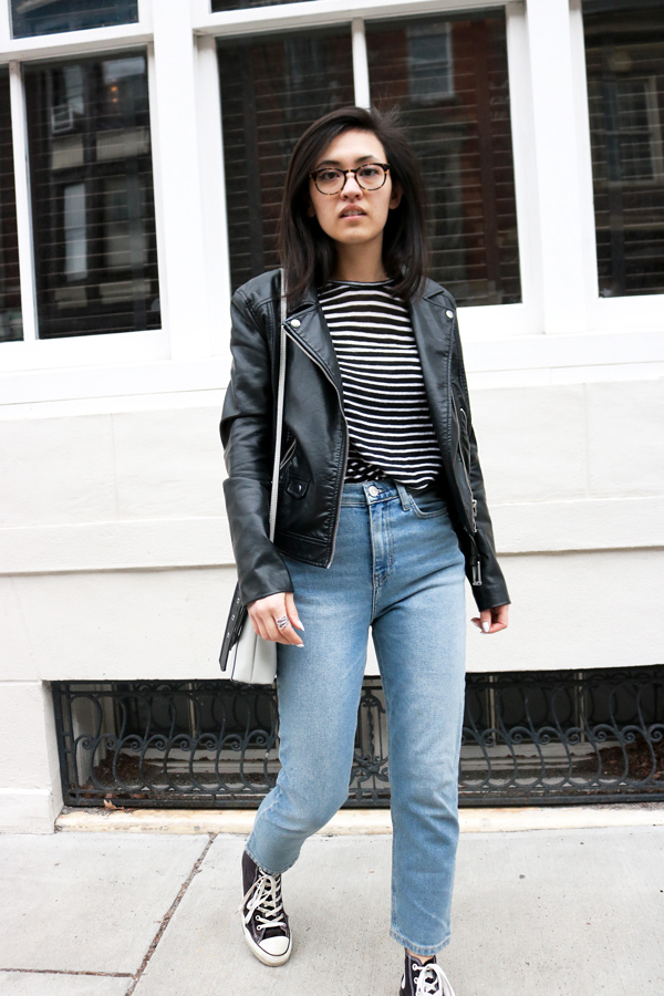 Blogger Outfit, Leather Jacket, Mom Jeans, Striped shirt