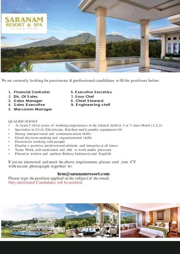 Lowongan kerja Saranam Resort and Spa