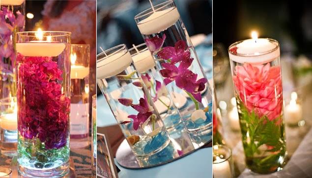 Imagenes fantasia y color lindas decoraciones con velas flotantes - Centro mesa velas ...