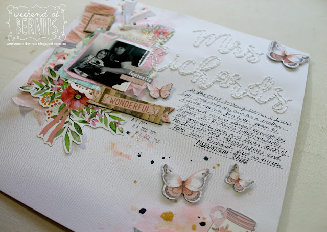 """ Mrs Richards"" layout by Bernii Miller for BoBunny using the Butterfly Kisses collection."