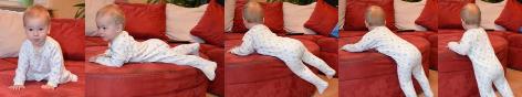 Bilderreihe Baby klettert vom Sofa
