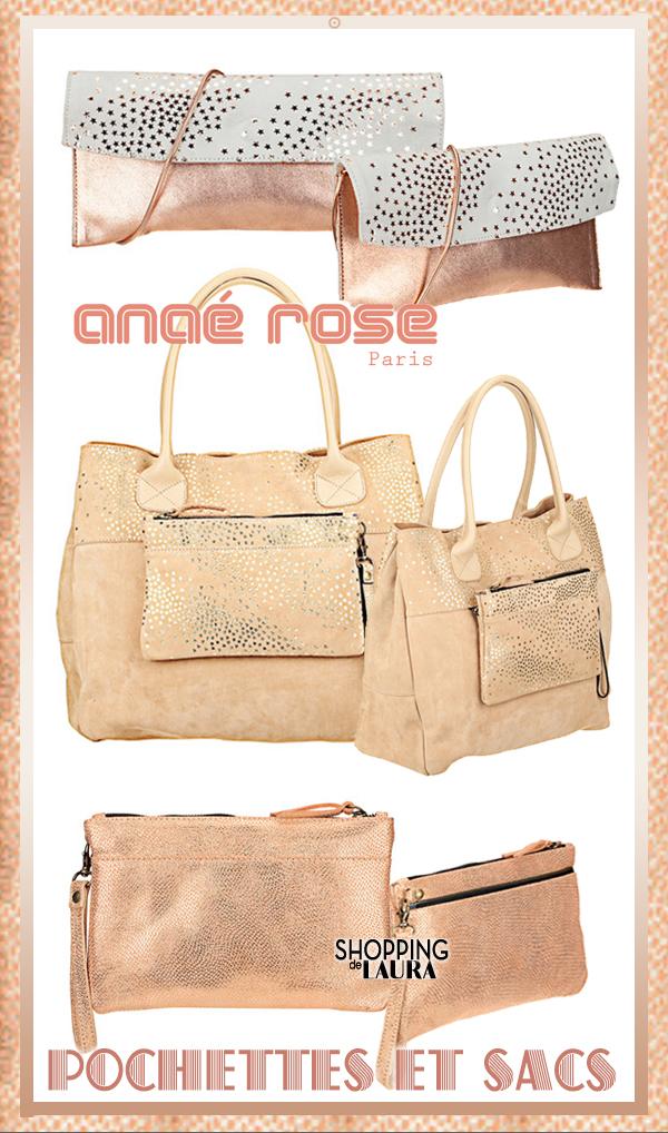 Pochettes et sacs en cuir lamés ANAE ROSE