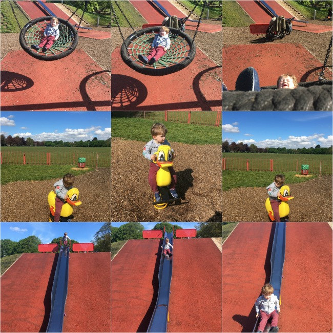 collage-of-images-of-toddler-on-swing-slide-and-bouncy-duck-in-roath-park-cardiff
