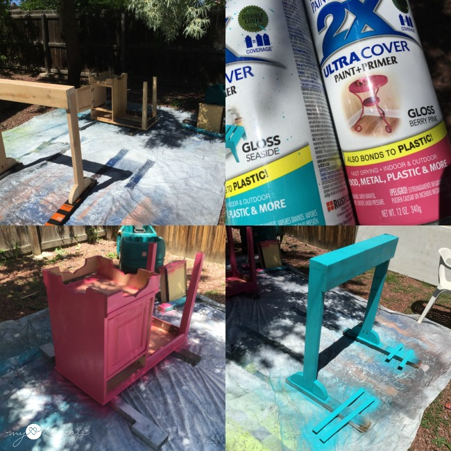 spray painting frozen treat stand