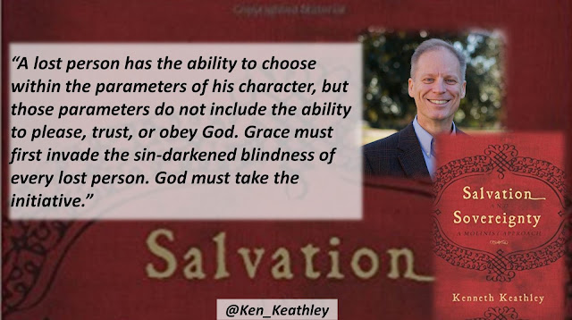 "Quote from ""Salvation and Sovereignty: A Molinist Approach"" by Dr. Kenneth Keathley- ""A lost person has the ability to choose within the parameters of his character, but those parameters do not include the ability to please, trust, or obey God. Grace must first invade the sin-darkened blindness of every lost person. God must take the initiative."" #Monergism #Salvation #Molinism #Theology #Soteriology #God #Christianity #Bible"
