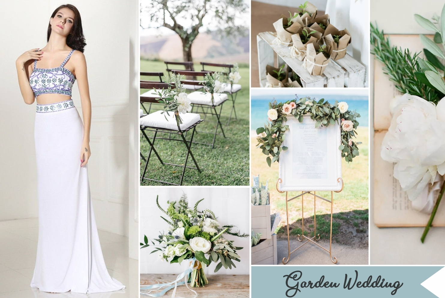 garden wedding collage