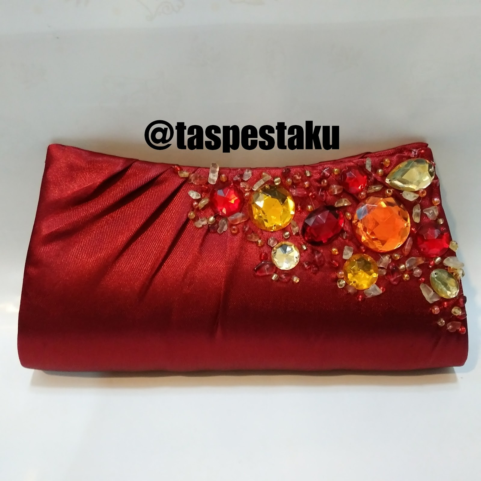 Tas Pesta Clutch Bag Taspestaku Merah Maroon Koleksi Ku