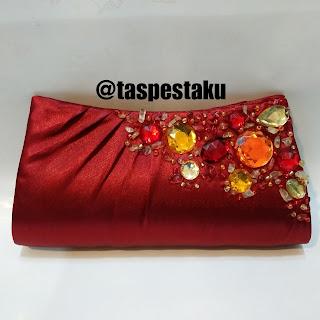 Tas Pesta Merah Maroon Cantik