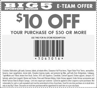 picture about Big 5 Coupon Printable named Substantial 5 Carrying Products and solutions Printable Coupon codes May well 2018 - Data