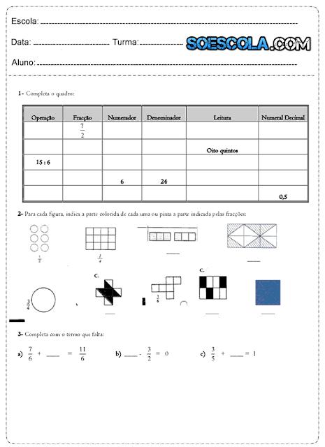 Frações Atividades de Matemática