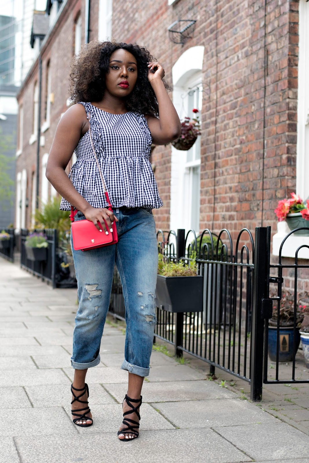 Stephylately is Pairing A Gingham Top with Boyfriend Jeans