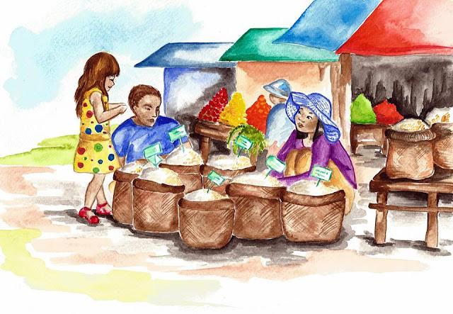 Au marché c'est un peu la galère car lorsque papa demande du riz, on s'enquiert de savoir s'il veut du riz de saison sèche, du riz battu non décortiqué, du riz en grain non décortiqué, du riz blanc décortiqué une fois… Tout le monde est mort de rire dans le marché en voyant ce grand barang, le seul à des kilomètres à la ronde, s'échiner à demander tout simplement du riz. A la fin, il en a marre et montre tout simplement du riz blanc dans un grand sac et se le fait emballer. Ensuite il dit « Tlaï ponman ? » (« Combien ça coûte ») et après avoir entendu la réponse de la vendeuse qui n'en peut plus de rire, il tend quelques riels avant de partir sans attendre la monnaie.