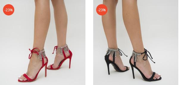 Sandale elegante negre, rosiii cu toc cu aplicatie la spate