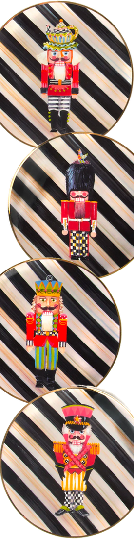 MACKENZIE-CHILDS NUTCRACKER PLATES SET OF 4