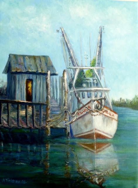 Coastal Painting of Shrimp Boat by Docks