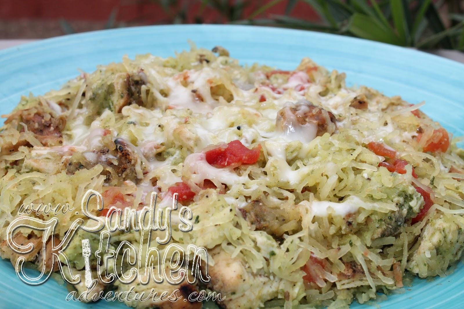 Spaghetti Squash Chicken Pesto Sandy Kitchen