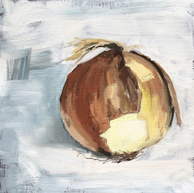 Yellow onion painting by Philine van der Vegte