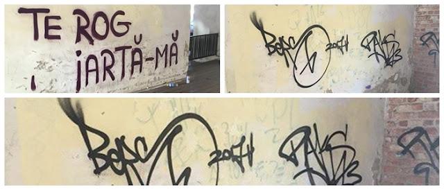 Doua fete amendate ca au desenat cu spray pe peretele Pasajului Bastion