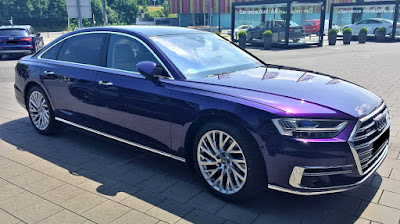 Elegant Audi A8 super-sedan in velvet purple!