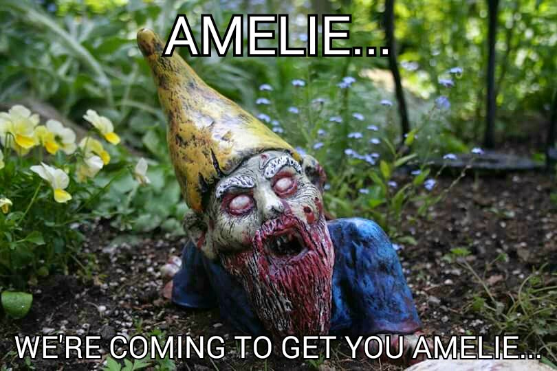 Amelia gnome turned zombie wants to eat amelie for sending him around the world.