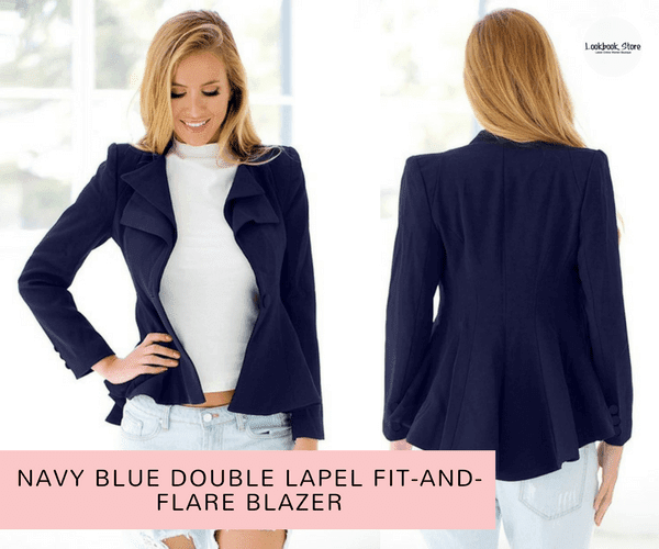 Navy Blue Double Lapel Fit-and-Flare Blazer | Lookbook Store