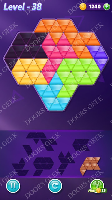 Block! Triangle Puzzle Advanced Level 38 Solution, Cheats, Walkthrough for Android, iPhone, iPad and iPod
