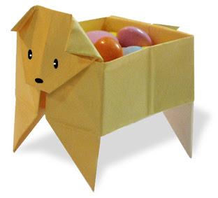 How to fold origami Dog's Box - Gấp hộp giấy hình con chó