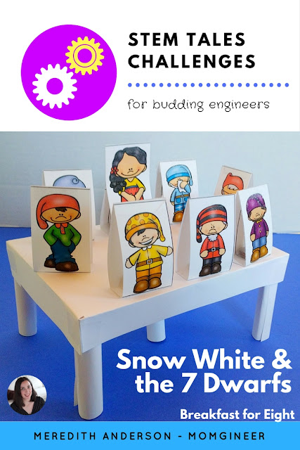 Fairy Tale STEM - Snow White and the Seven Dwarfs! Not only do students need to create a table for the dwarfs, they also need to use logic to solve a seating arrangement problem. Meredith Anderson Momgineer