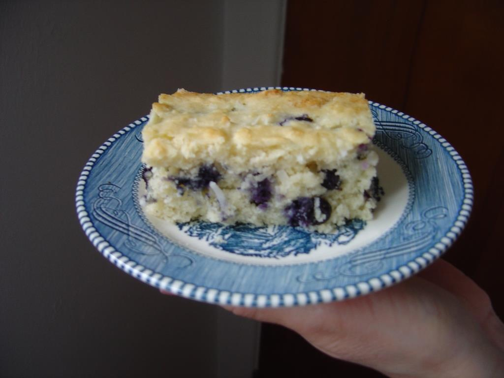 a piece of my Blueberry-Coconut Dream Cake