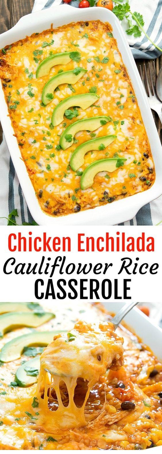 Chicken Enchilada Cauliflower Rice Casserole