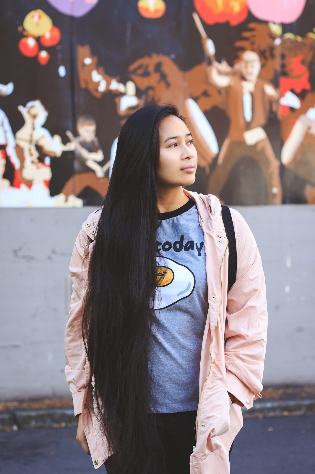 seattle blogger ootd chinatown sanrio nylon forever 21 gudetama