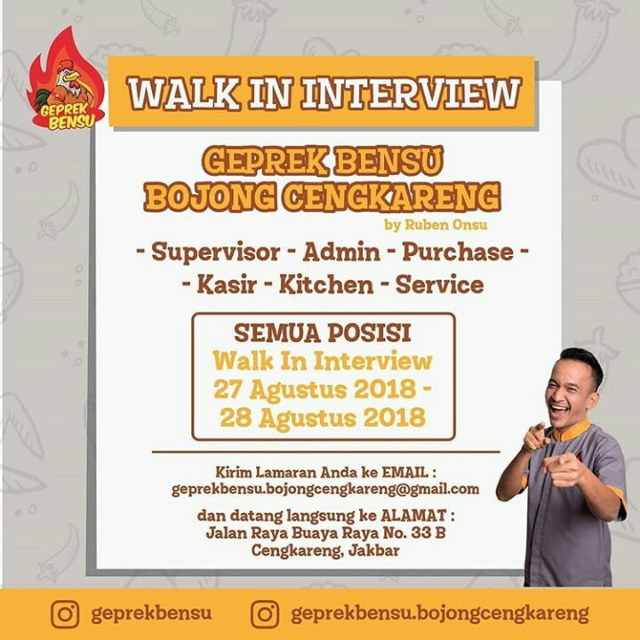 Walk In Interview Geprek Bensu JABODETABEK