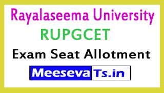 Rayalaseema University RUPGCET Exam Seat Allotment