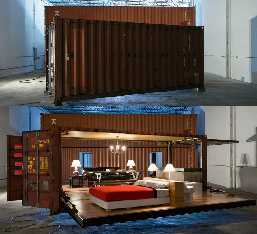 container houses that open with a push button