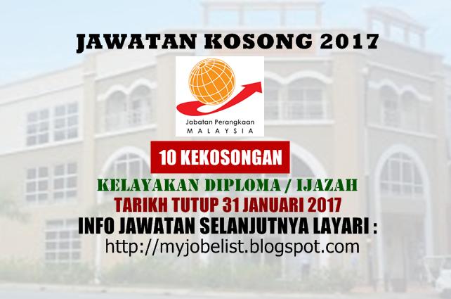 Jawatan Kosong di Jabatan Perangkaan Malaysia Januari 2017