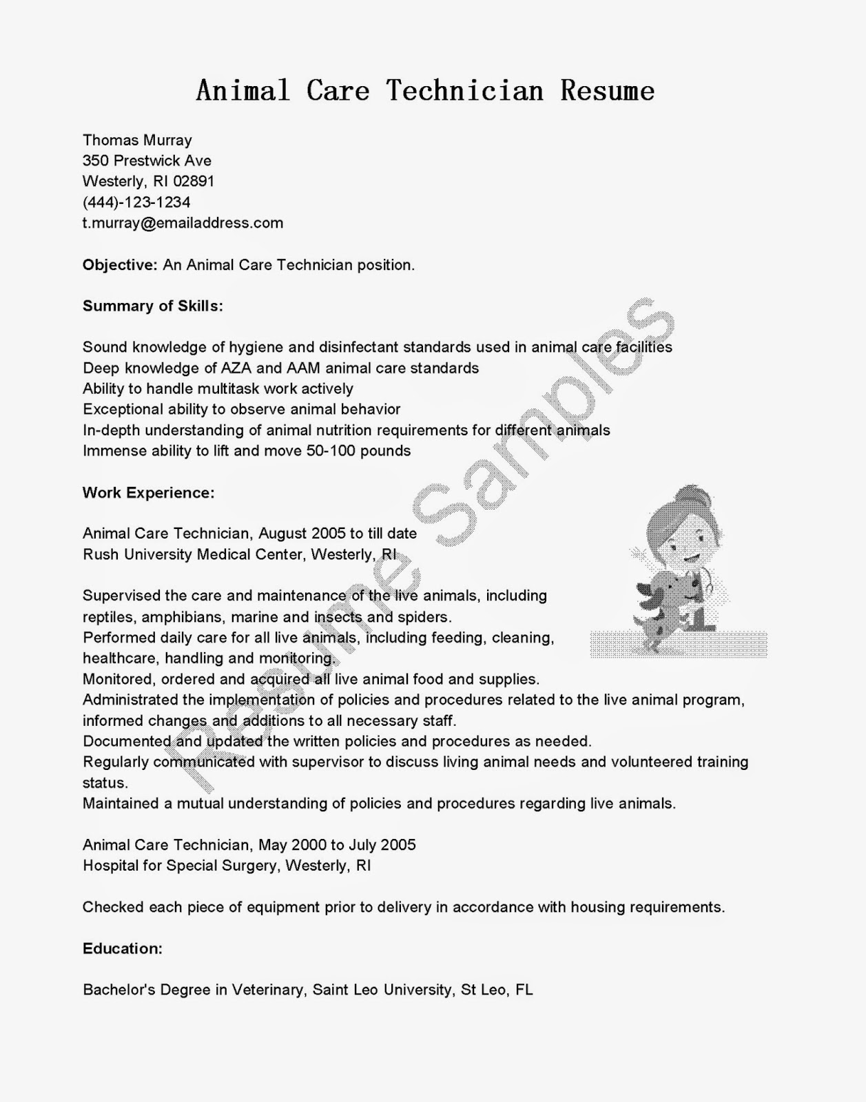 resume samples  animal care technician resume sample