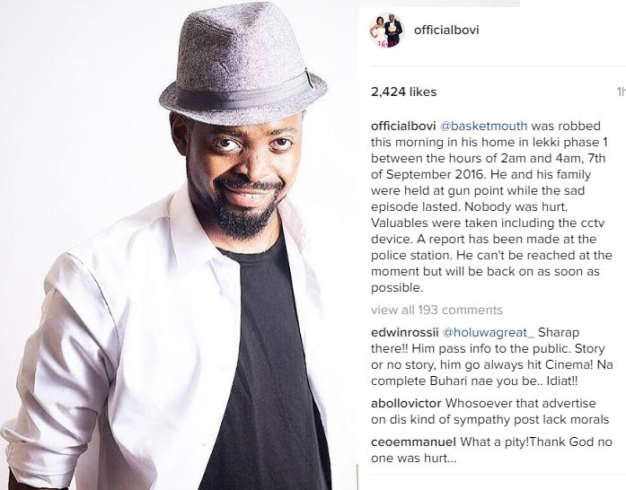 Comedian Basketmouth and family robbed at gunpoint in Lekki