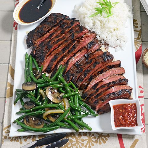 Stir fried spicy green beans with flank steak recipe.